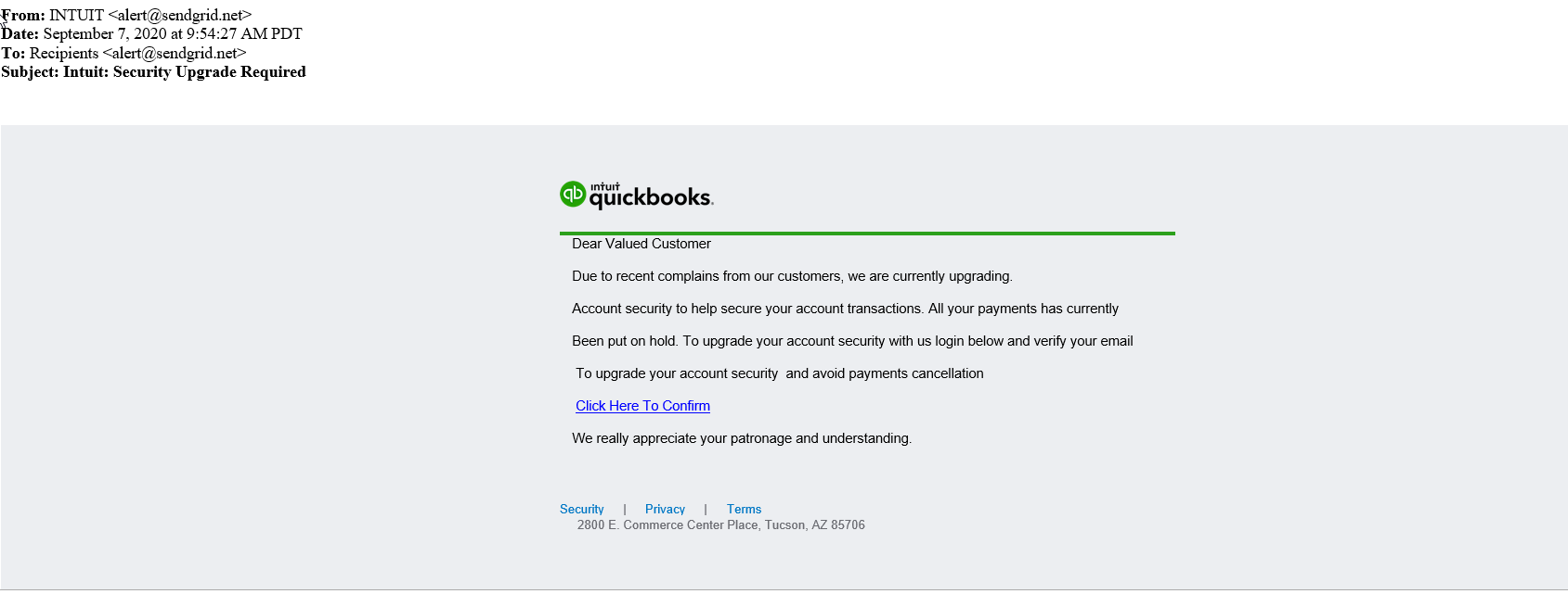 PHISHING EMAIL: QuickBooks Subscription Renewal Reminder