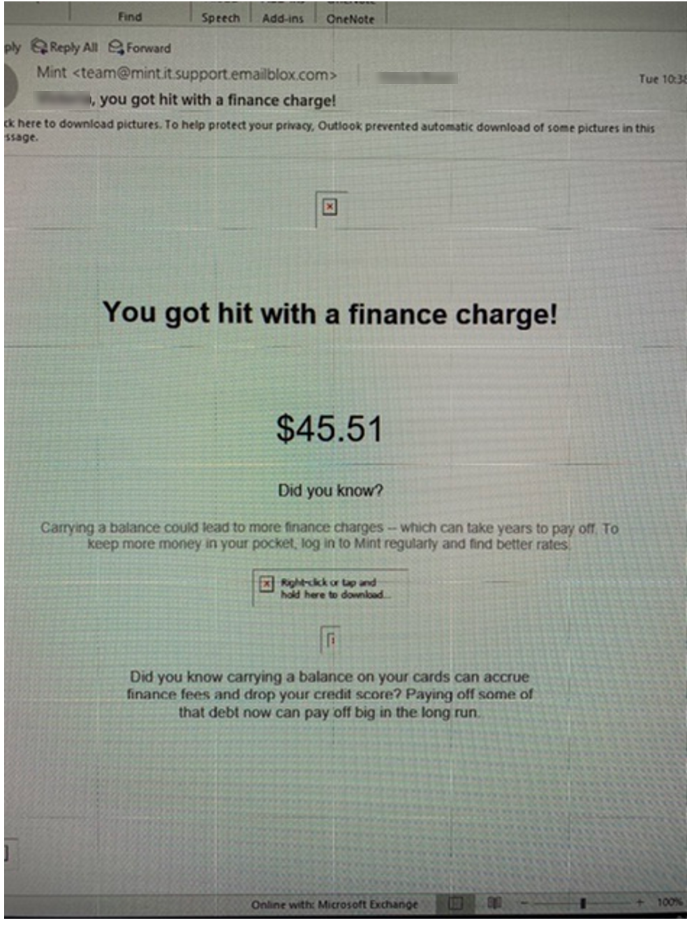 PHISHING EMAIL: XXXX you got hit with a financial charge